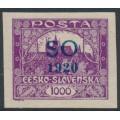 CZECHOSLOVAKIA - 1920 1000H purple Hradčany, imperf., overprinted SO 1920 in blue, MH – Mi. # 25Aa