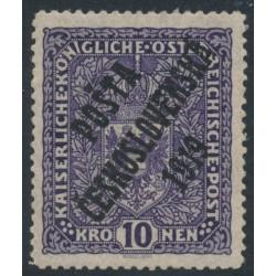 CZECHOSLOVAKIA - 1919 10Kr deep violet Austrian Arms, overprinted P.Č. 1919, MH – Mi. # 54Ia