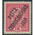 CZECHOSLOVAKIA - 1919 1Kr red Austrian Arms, overprinted P.Č. 1919 in black, MH – Michel # 50b