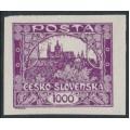 CZECHOSLOVAKIA - 1919 1000H purple Hradčany, imperforate, MNH – Michel # 23a