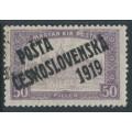 CZECHOSLOVAKIA - 1919 50f purple Parliament, double overprinted P.Č. 1919, MH - Michel # 130