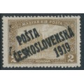 CZECHOSLOVAKIA - 1919 2Kr brown Parliament, double overprinted P.Č. 1919, MH - Michel # 134