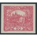 CZECHOSLOVAKIA - 1920 20H carmine Hradčany, imperforate, MH – Michel # 27U