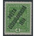 CZECHOSLOVAKIA - 1919 4Kr green Arms, overprinted P.Č. 1919, MNH - Michel # 57I