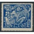 CZECHOSLOVAKIA - 1923 200H blue Science & Economy, type III, p.13¾:13¾, MH – Michel # 203AIII