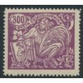 CZECHOSLOVAKIA - 1923 300H violet Science & Economy, type III, p.13¾:13¾, MH – Michel # 204AIII