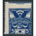 CZECHOSLOVAKIA - 1920 5H ultramarine Dove & Letter, misplaced perfs., MH – Michel # 162A