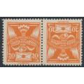 CZECHOSLOVAKIA - 1921 20H orange Dove & Letter, tête-bêche pair, MH – Michel # 167BK