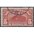 DENMARK - 1915 5Kr brown-red Copenhagen GPO with crosses watermark, used – Facit # 121