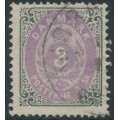 DENMARK - 1871 3Sk lilac/dark grey Numeral, used – Facit # 21d