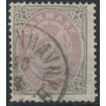 DENMARK - 1871 3Sk dull lilac/yellowish grey Numeral, perf. 14:13½, used – Facit # 21c