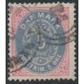 DENMARK - 1875 5øre ultramarine/rose Numeral, perf. 14:13½, used – Facit # 30b