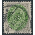 DENMARK - 1898 25øre green/grey Numeral, perf. 12¾:12¾, inverted frame, used – Facit # 43aa