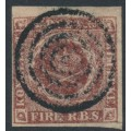 DENMARK - 1852 4 RBS red-brown Crown, imperforate, second printing (Thiele I), used – Facit # 2II