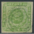 DENMARK - 1857 8Sk yellow-green Crown, imperforate with dotted background, used – Facit # 5a