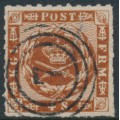DENMARK - 1863 4Sk reddish brown Crown, rouletted with solid lines background, used – Facit # 9c
