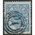 DENMARK - 1865 2Sk dark blue Large Oval, perf. 13:12½, used – Facit # 11b