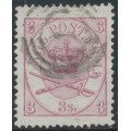 DENMARK - 1865 3Sk lilac Large Oval, perf. 13:12½, used – Facit # 12a