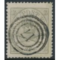 DENMARK - 1864 16Sk olive-grey Large Oval, perf. 13:12½, used – Facit # 15b