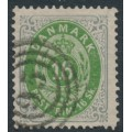 DENMARK - 1871 16Sk light green/light grey Numeral, perf. 14:13½, used – Facit # 24b