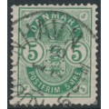 DENMARK - 1882 5øre green Coat of Arms with small numerals, used – Facit # 50b