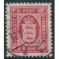 DENMARK - 1899 8øre carmine-red Official (Tjenstemærke), perf. 12¾:12¾, crown watermark, used – Facit # TJ14