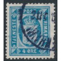 DENMARK - 1916 4øre blue Official (Tjenstemærke) with crosses watermark, used – Facit # TJ18