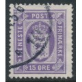 DENMARK - 1919 15øre violet Official (Tjenstemærke) with crosses watermark, used – Facit # TJ23