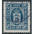DENMARK - 1920 20øre dark blue Official (Tjenstemærke) with crosses watermark, used – Facit # TJ24
