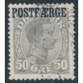 DENMARK - 1923 50øre light grey King Christian X with POSTFÆRGE overprint, used – Facit # PF6b