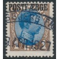 DENMARK - 1924 1Kr blue/brown King Christian X with POSTFÆRGE overprint, used – Facit # PF7