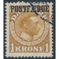 DENMARK - 1919 1Kr brown King Christian X with POSTFÆRGE overprint, used – Facit # PF10