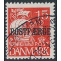 DENMARK - 1927 15øre red Caravelle (solid background) with POSTFÆRGE overprint, used – Facit # PF23