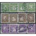 DENMARK - 1924 300th Anniversary of the Danish Post set of 12, used – Facit # 201-212