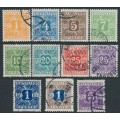 DENMARK - 1921-1927 1øre to 5Kr Postage Dues, solid background set of 11, used – Michel # P9-P19