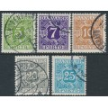 DENMARK - 1930 5øre to 25øre Postage Dues colour changes set of 5, used – Michel # P20-P24