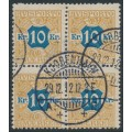 DENMARK - 1907 10Kr brown/blue Newspaper Stamp (Avisporto) block of 4, used – Facit # TI10