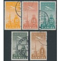 DENMARK - 1934 10øre to 1Kr Airmail set of 5, used – Facit # 262-266