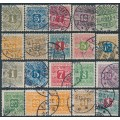 DENMARK - 1907-1915 1øre to 10Kr Newspaper Stamps (Avisporto) set of 20, used – Facit # TI1-TI20