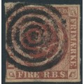DENMARK - 1851 4 RBS brown Crown, imperforate, first printing (Ferslew), used – Facit # 2I