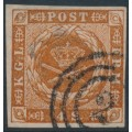 DENMARK - 1857 4Sk orange-brown Crown, imperforate with dotted background, used – Facit # 4f