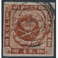 DENMARK - 1859 4Sk brown Crown, imperforate with lined background, used – Facit # 7b
