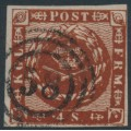 DENMARK - 1859 4Sk red-brown Crown, imperforate with lined background, used – Facit # 7c