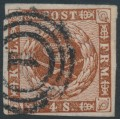 DENMARK - 1860 4Sk dull brown Crown, imperforate with lined background, used – Facit # 7e