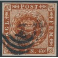 DENMARK - 1862 4Sk yellow-brown Crown, imperforate, lined background, 2nd crown watermark, used – Facit # 7h