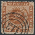 DENMARK - 1863 4Sk dull yellow-brown Crown, rouletted with solid lines background, used – Facit # 9a