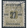 DENMARK - 1918 27øre on 1øre olive Newspaper Stamp (Avisporto), crown watermark, used – Facit # 177