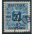 DENMARK - 1918 27øre on 5øre blue Newspaper Stamp (Avisporto), crown watermark, used – Facit # 178