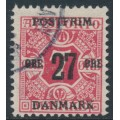 DENMARK - 1918 27øre on 7øre red Newspaper Stamp (Avisporto), crown watermark, used – Facit # 179