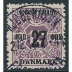 DENMARK - 1918 27øre on 10øre purple Newspaper Stamp (Avisporto), crown watermark, used – Facit # 180